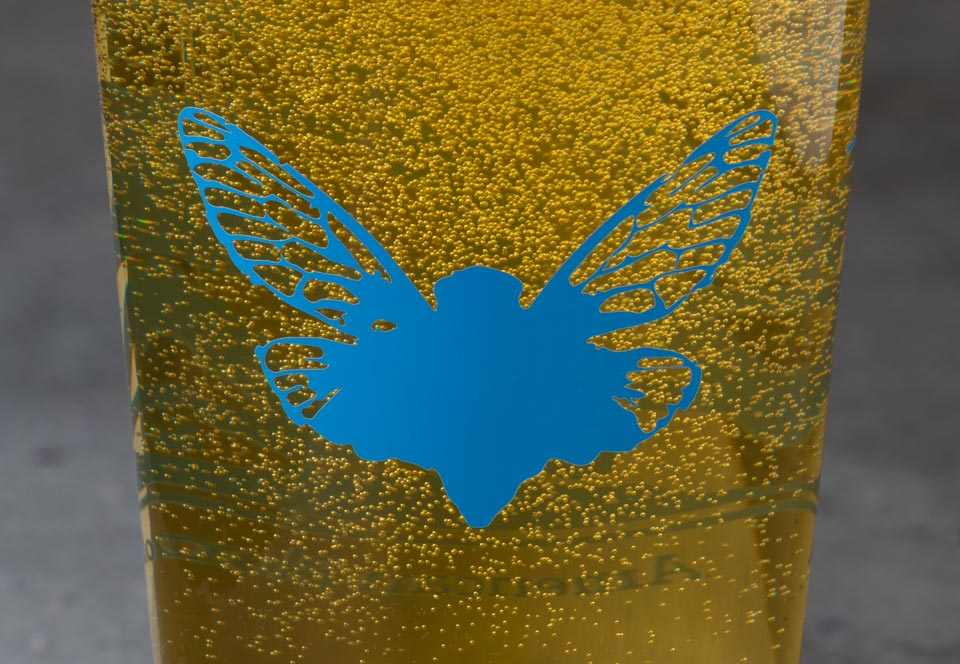 Jarfly logo on glass with bubbles