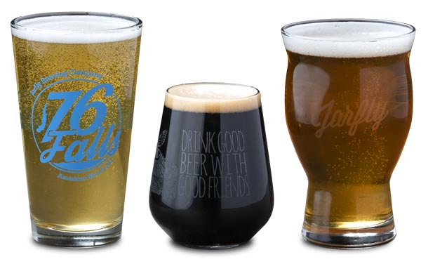 Four up beer glasses